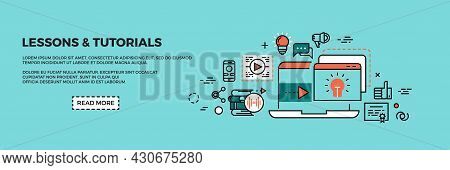 Online Training Web Banner. Remote Education, Tutorials And Courses App Landing Page. Line Concept F