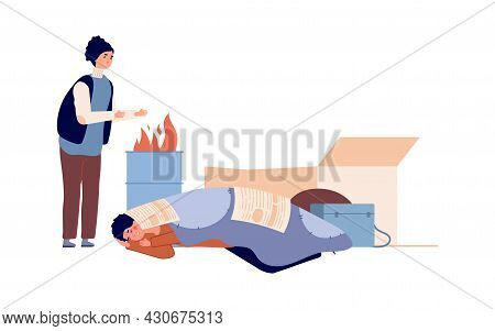 Poor People Problems. Isolated Homeless Characters Sleeping And Bask By Fire. Poverty Man Woman, Ref