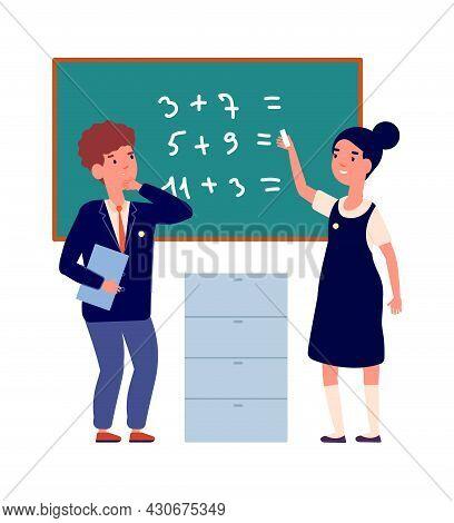 Preschool Education. Back To School, Boy Girl Wear Uniform In Classroom. Cartoon Children Near Chalk