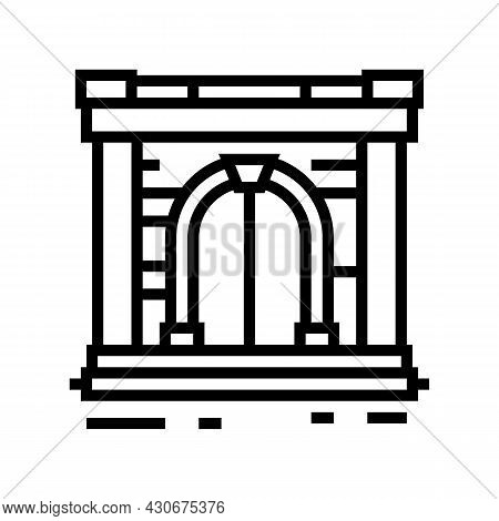 Ancient Gate Line Icon Vector. Ancient Gate Sign. Isolated Contour Symbol Black Illustration