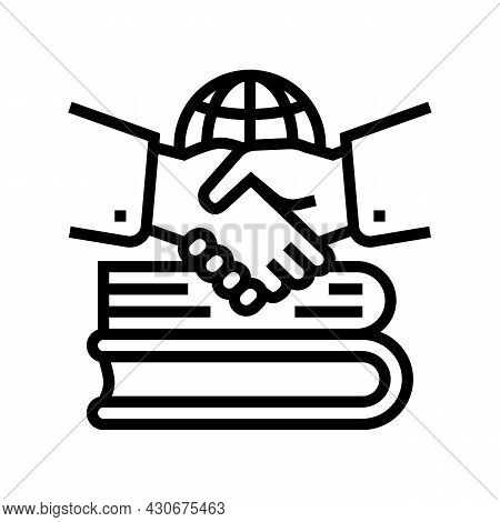 Diplomatic History Line Icon Vector. Diplomatic History Sign. Isolated Contour Symbol Black Illustra