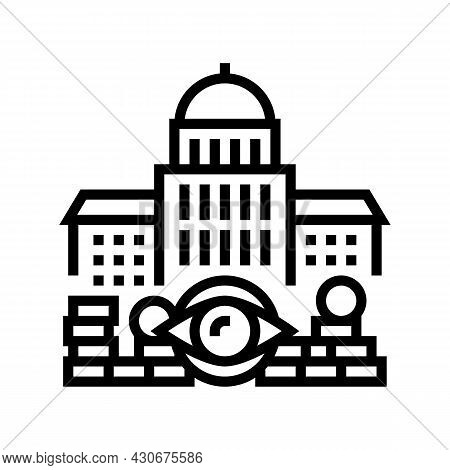 Government Accountability And Transparency And Corruption Social Problem Line Icon Vector. Governmen