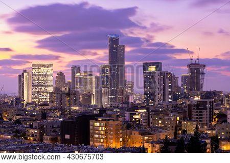 Ramat Gan Skyline At Sunset,  Ramat Gan Cityscape At Sunset Time Aerial View, Israel
