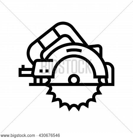 Circular Saw Tool Line Icon Vector. Circular Saw Tool Sign. Isolated Contour Symbol Black Illustrati