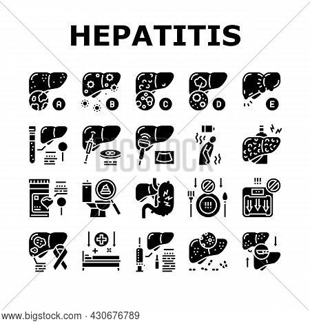 Hepatitis Liver Health Problem Icons Set Vector. Cirrhosis And Hepatitis Type, Pale Stool And Dark U