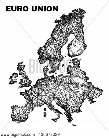 Wire Frame Irregular Mesh Euro Union Map. Abstract Lines Form Euro Union Map. Wire Frame Flat Networ