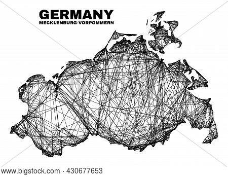 Net Irregular Mesh Mecklenburg-vorpommern Land Map. Abstract Lines Are Combined Into Mecklenburg-vor