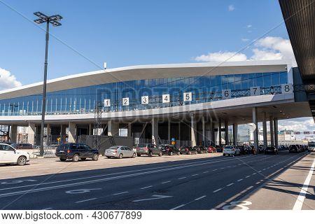 Helsinki, Finland: 5 August, 2021: Many Cars Waiting To Board The Ferry In Helsinki Ferry Port