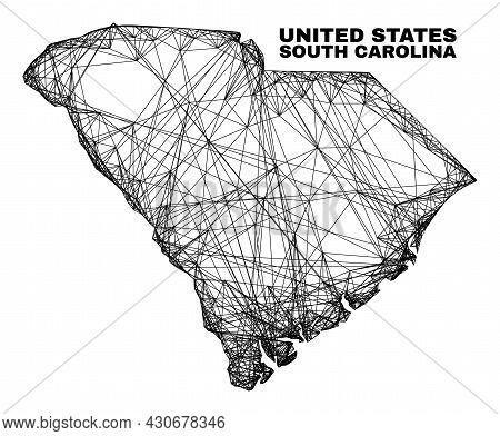 Carcass Irregular Mesh South Carolina State Map. Abstract Lines Form South Carolina State Map. Linea