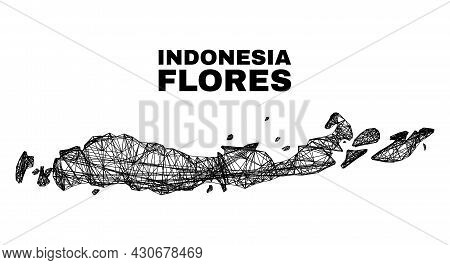 Net Irregular Mesh Flores Islands Of Indonesia Map. Abstract Lines Are Combined Into Flores Islands
