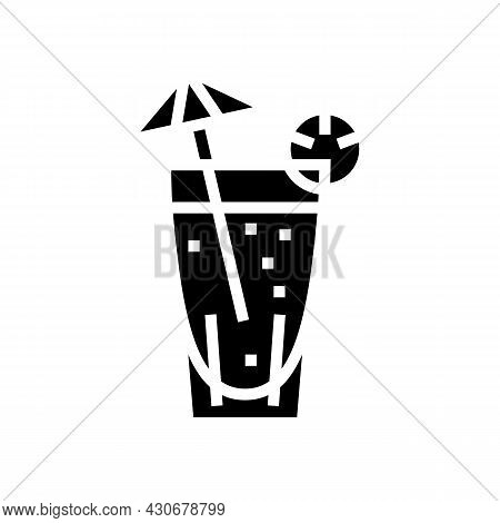 Cocktail Exotic Drink Glyph Icon Vector. Cocktail Exotic Drink Sign. Isolated Contour Symbol Black I