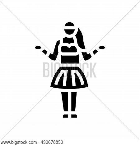 Hula Hawaiian Dance Glyph Icon Vector. Hula Hawaiian Dance Sign. Isolated Contour Symbol Black Illus