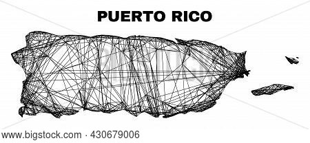 Carcass Irregular Mesh Puerto Rico Map. Abstract Lines Are Combined Into Puerto Rico Map. Linear Car