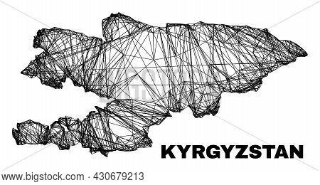 Carcass Irregular Mesh Kyrgyzstan Map. Abstract Lines Form Kyrgyzstan Map. Wire Carcass 2d Net In Ve