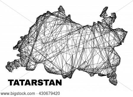 Carcass Irregular Mesh Tatarstan Map. Abstract Lines Form Tatarstan Map. Linear Carcass 2d Net In Ve