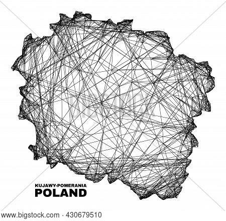 Wire Frame Irregular Mesh Kujawy-pomerania Province Map. Abstract Lines Form Kujawy-pomerania Provin