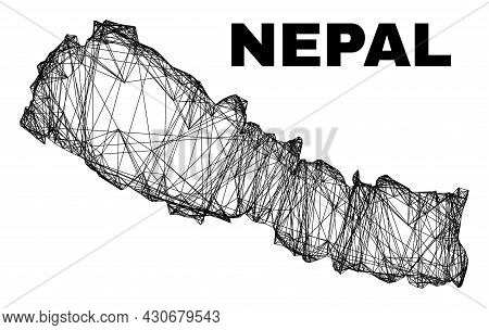Wire Frame Irregular Mesh Nepal Map. Abstract Lines Are Combined Into Nepal Map. Wire Frame Flat Net