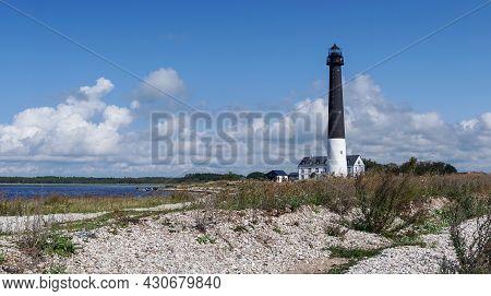 Saare, Estonia - 14 August, 2021: Panorama View Of The Sorve Lighthouse On Saaremaa Island Of Estoni