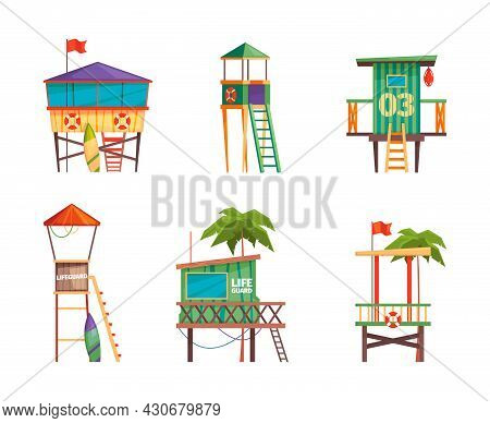 Lifeguard Building. Bungalow Guard Towers On The Beach In Seaside Life Rescue Garish Vector Construc