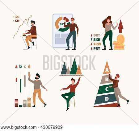 Benchmark. Stylized Characters With Marketing Graph Company Strategy Compare Business Diagram Garish