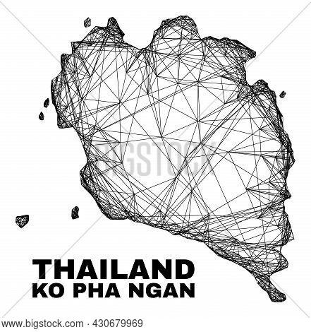 Net Irregular Mesh Ko Pha Ngan Map. Abstract Lines Form Ko Pha Ngan Map. Linear Frame 2d Net In Vect
