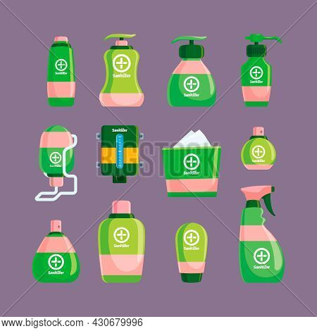 Sanitizer. Hygienic Spray Bottles Wiping Clear Products Garish Vector Flat Pictures Of Packages With