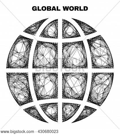 Carcass Irregular Mesh Planet Globe. Abstract Lines Are Combined Into Planet Globe. Linear Frame Fla