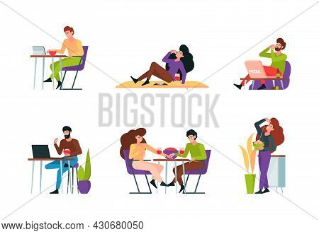 Characters Eating. People Sitting On Table And Eating Delicious Foods Different Meal Restaurant Prod