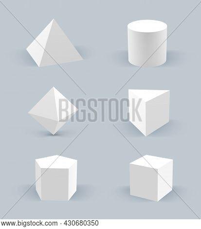 Geometric Realistic Shapes. 3d Stars Hexagon Basic Circles Cubes Pyramid Balls Decent Vector Geometr