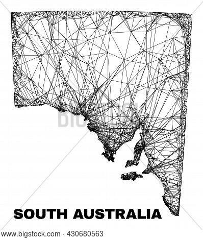 Network Irregular Mesh South Australia Map. Abstract Lines Form South Australia Map. Linear Carcass