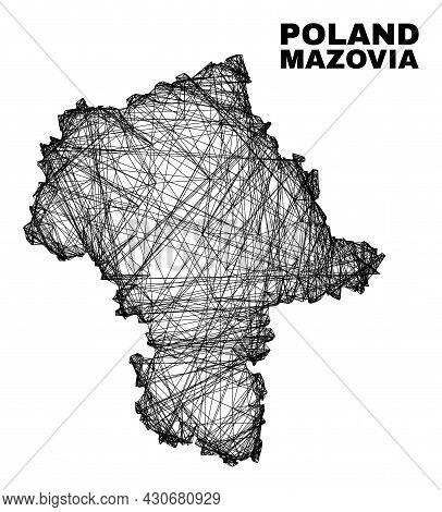 Wire Frame Irregular Mesh Masovian Voivodeship Map. Abstract Lines Form Masovian Voivodeship Map. Wi