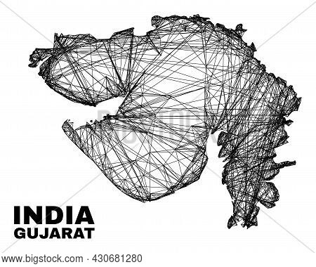 Net Irregular Mesh Gujarat State Map. Abstract Lines Are Combined Into Gujarat State Map. Wire Frame