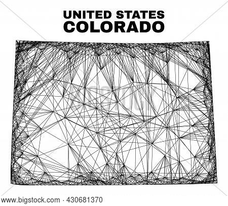 Carcass Irregular Mesh Colorado State Map. Abstract Lines Form Colorado State Map. Linear Carcass 2d