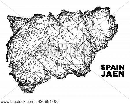 Wire Frame Irregular Mesh Jaen Spanish Province Map. Abstract Lines Form Jaen Spanish Province Map.