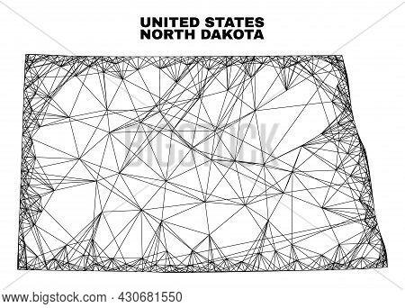 Carcass Irregular Mesh North Dakota State Map. Abstract Lines Form North Dakota State Map. Linear Ca