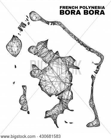 Net Irregular Mesh Bora-bora Map. Abstract Lines Are Combined Into Bora-bora Map. Wire Carcass 2d Ne