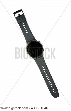Smart Watch With A Strap, Isolated On A White Background. Close-up, Top View