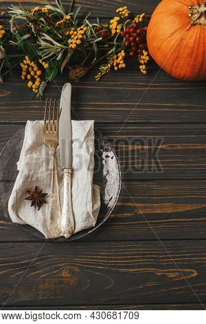 Stylish Thanksgiving Dinner Table Setting. Modern Plate With Vintage Cutlery, Linen Napkin With Anis