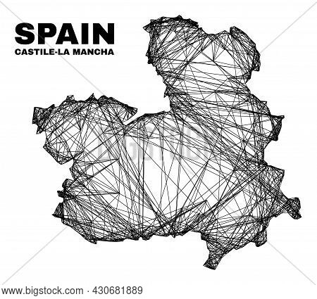 Carcass Irregular Mesh Castile-la Mancha Province Map. Abstract Lines Form Castile-la Mancha Provinc