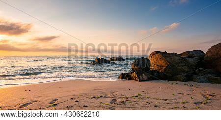 Huge Stones On The Sandy Beach At Sunrise. Wonderful Velvet Season Vacation On The Black Sea In Morn