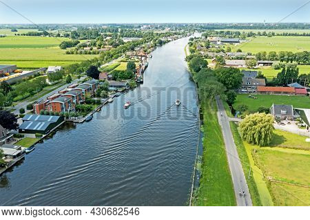 Aerial from the river Oude Rijn near Bodegraven in the Netherlands