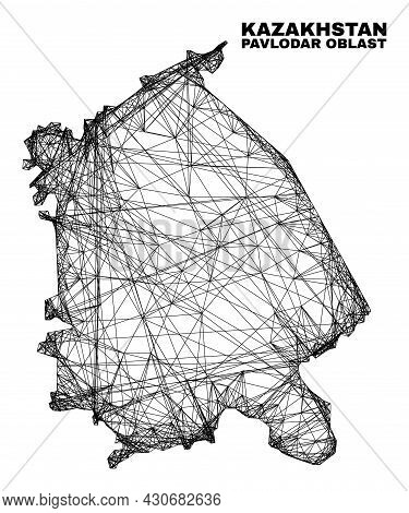 Net Irregular Mesh Pavlodar Region Map. Abstract Lines Are Combined Into Pavlodar Region Map. Wire C