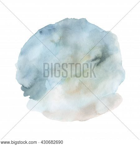 Blue Watercolor Paint Stain Background Hand Painted. Abstract Circle Shape Watercolor Texture Isolat