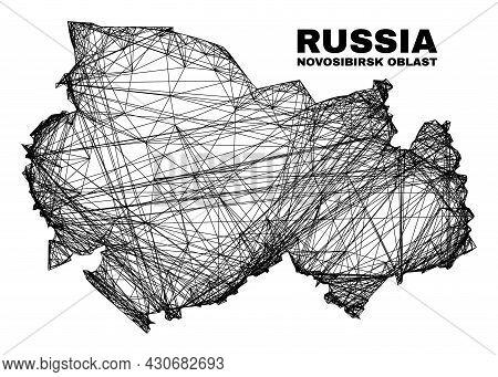 Net Irregular Mesh Novosibirsk Region Map. Abstract Lines Form Novosibirsk Region Map. Wire Carcass