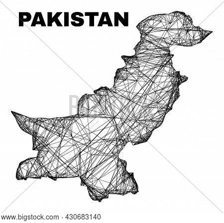 Carcass Irregular Mesh Pakistan Map. Abstract Lines Are Combined Into Pakistan Map. Linear Carcass 2