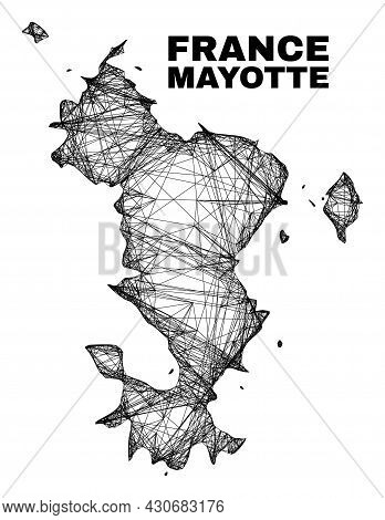 Carcass Irregular Mesh Mayotte Islands Map. Abstract Lines Are Combined Into Mayotte Islands Map. Li