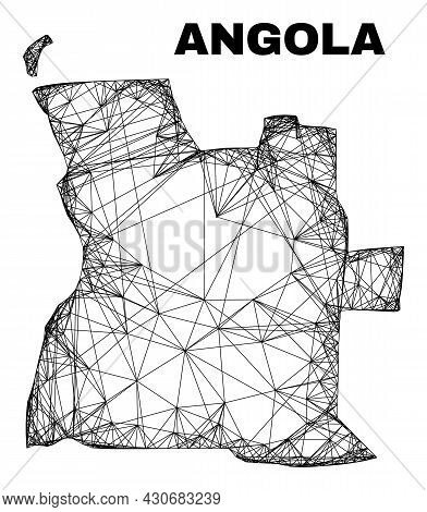 Carcass Irregular Mesh Angola Map. Abstract Lines Form Angola Map. Wire Carcass Flat Network In Vect