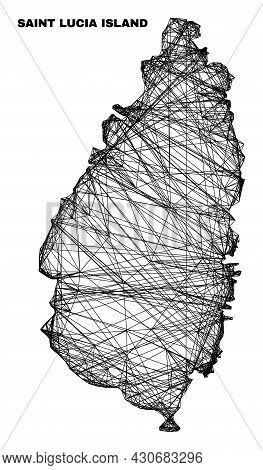 Net Irregular Mesh Saint Lucia Island Map. Abstract Lines Are Combined Into Saint Lucia Island Map.