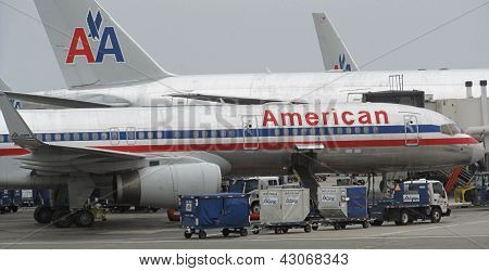 LOS ANGELES - AUG. 23: several American Airlines planes parked at LAX
