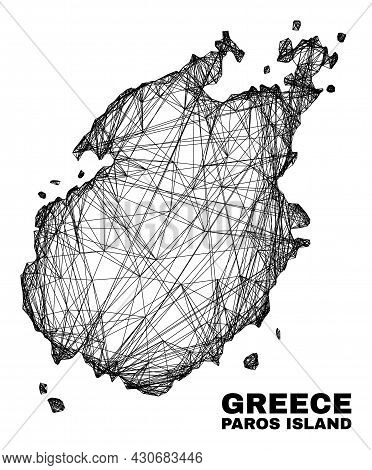 Net Irregular Mesh Paros Island Map. Abstract Lines Are Combined Into Paros Island Map. Linear Frame